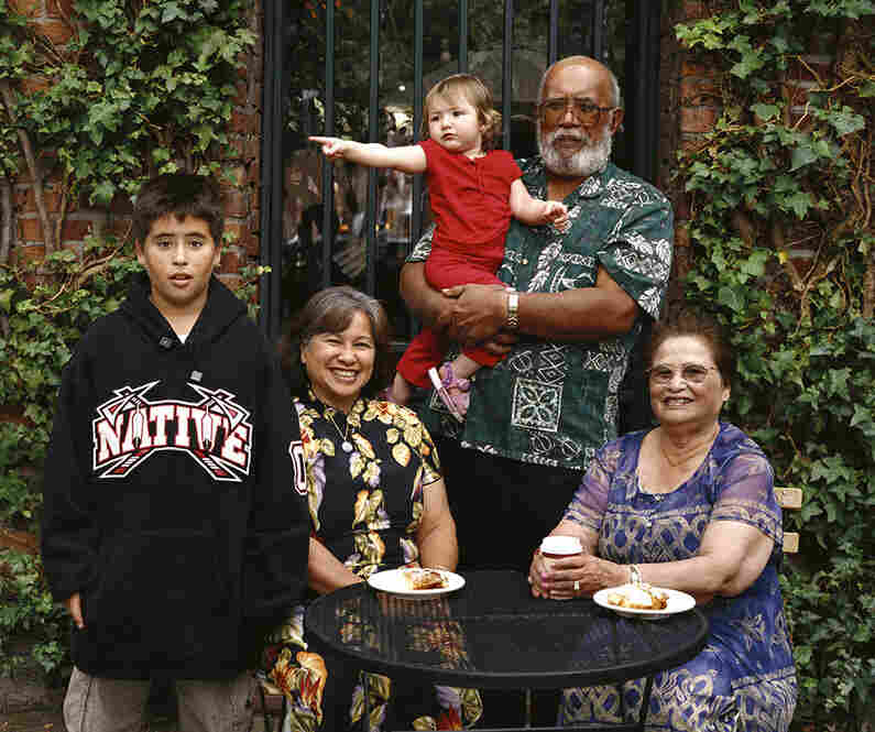 Christopher Kaapuniikealoha, Victoria Navarro Oana, Ariel Soleil Hokulani Overton, Rossiter Kamealoha Oana and Virginia Aguon Aflague. Victoria: half Pacific Islander (Chamorro), half white (Spanish); Christopher (grandson) and Arial (granddaughter): Pacific Islander (Chamorro), Native American (Cherokee), white; Virginia (Victoria's mother); Pacific Islander (Chamorro), white (Spanish). Seattl...