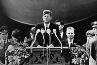 Two years after the construction of the Berlin Wall, President Kennedy delivers his famous