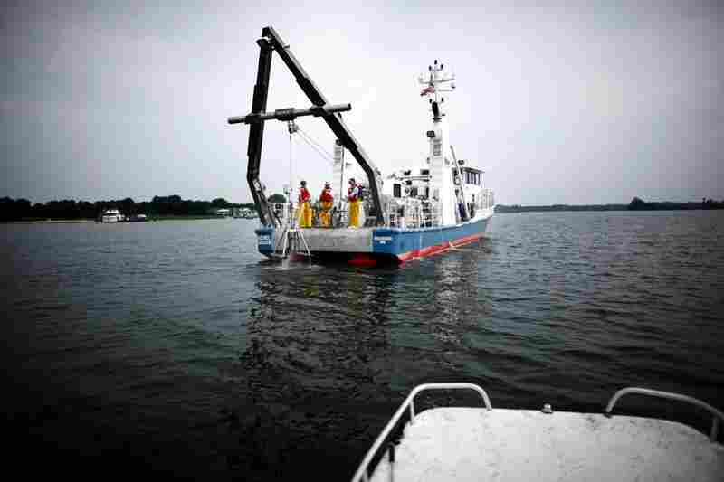 The research vessel Rachel Carson cruises up the Wye River on Maryland's Eastern Shore. The ship's crew spends days at a time collecting sediment and water samples to understand the chemistry of the Chesapeake Bay.