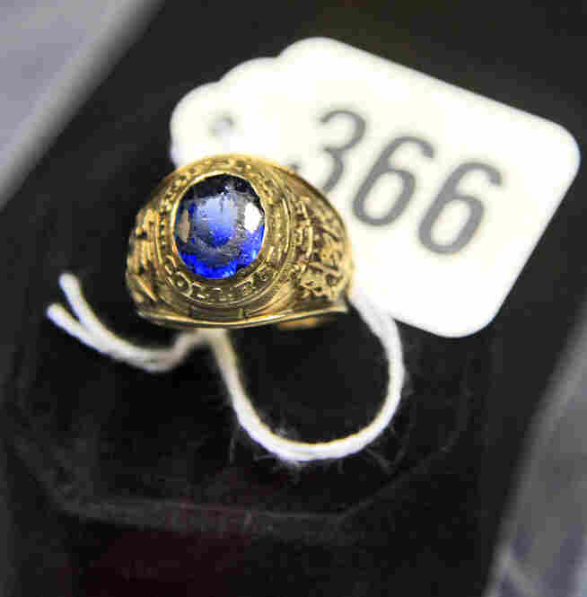 "His 1960 Hofstra College school ring is engraved with ""BLM - BA."""