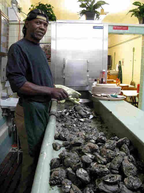 "Mike Rogers has been shucking oysters for 35 years — ""heaven on the half-shell,"" he calls them. One of every two Casamento's customers orders raw oysters. The regulars also ask for Rogers' special cocktail sauce, heavy on the horseradish."