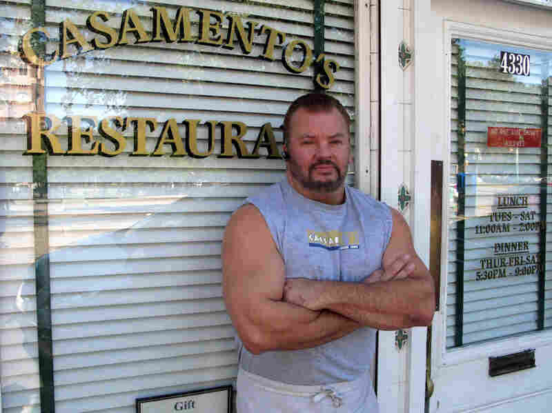 """Casamento's owner C.J. Gerdes opposes the FDA plan. He says he tried processed oysters — once. """"I told 'em to take them right back. No taste to 'em. They taste like rubber. So I wouldn't use them. I would just go without,"""" he said."""