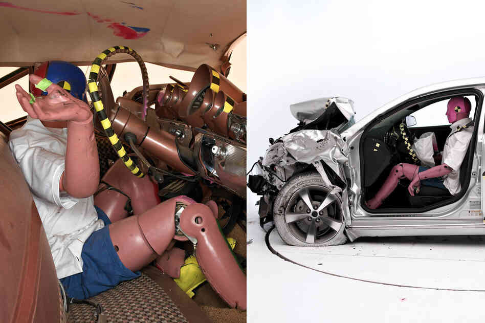 Significant improvements in vehicle safety have been made over the past half-century, in large part because of research using crash test dummies. The photos show the result of a 40-mph crash test between a 1959 Chevrolet Bel Air (left) and a 2009 Chevrolet Malibu. In the Bel Air, the steering column was forced into the face of the dummy, and paint marks where the dummy's head hit the steering w...