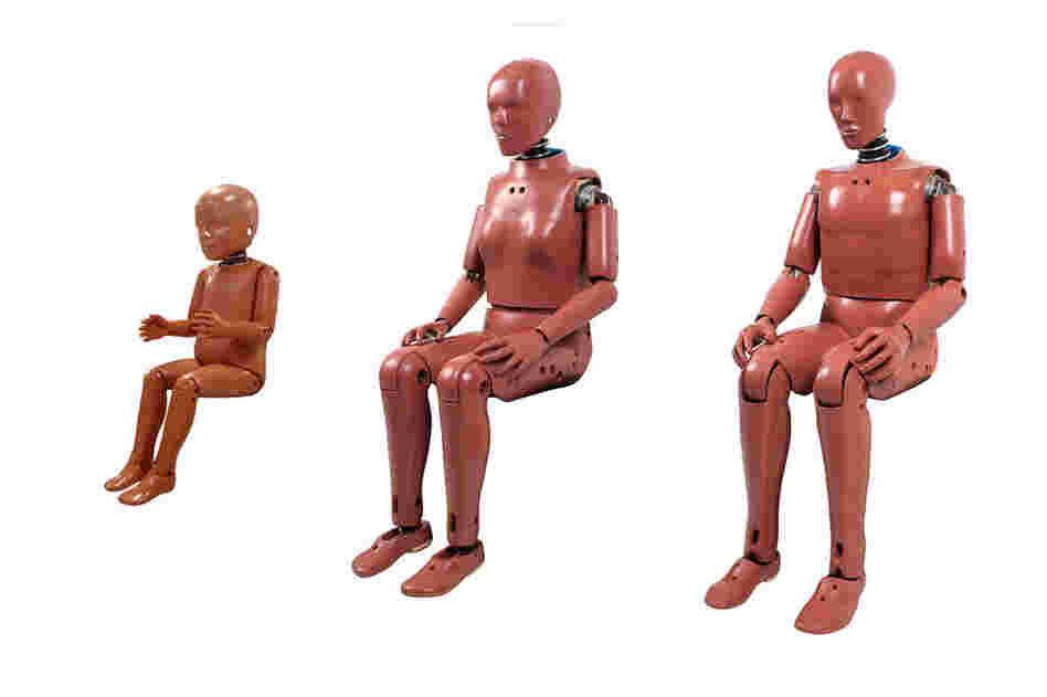 Members of the Hybrid III family of crash test dummies (from left): the 3-year-old dummy, 5th percentile female dummy and 50th percentile male dummy.  Hybrid III is the most widely used family of crash test dummies.  The 50th percentile male dummy was developed in 1976 by General Motors.  In 1997, the Hybrid III became the government standard for evaluating frontal-impact crashes. Dummies typic...