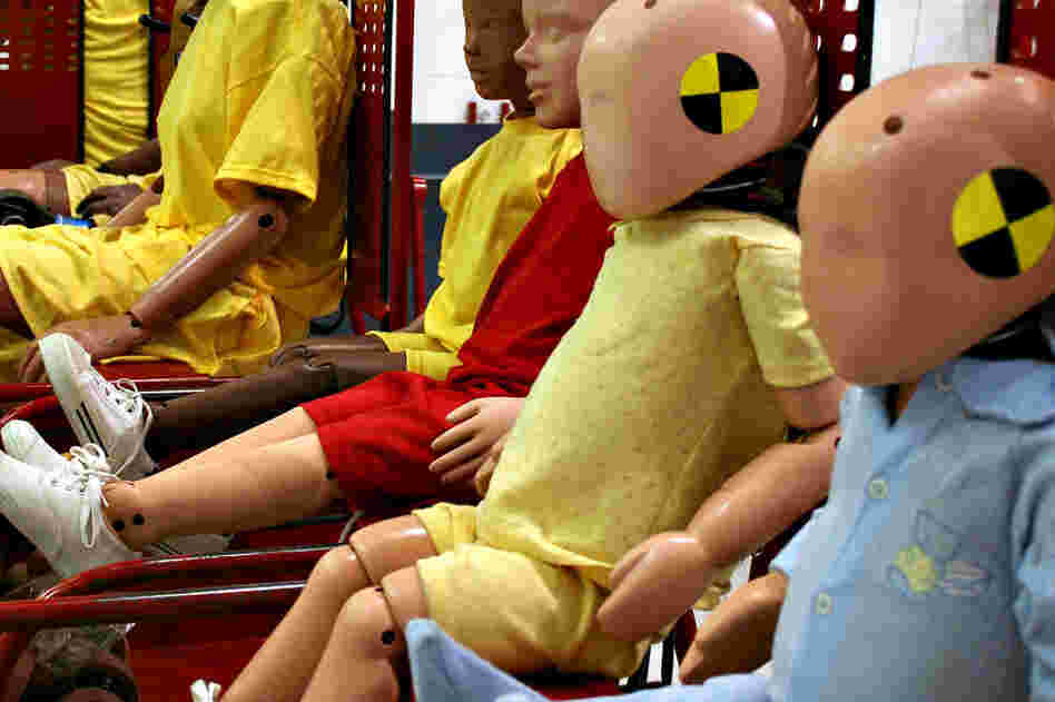 These child-sized dummies are typically placed in the back seats of test vehicles. In addition to 3-, 6- and 10-year-old versions of the Hybrid III, CRABI dummies have been developed to simulate 6-, 12- and 18-month-old infants.