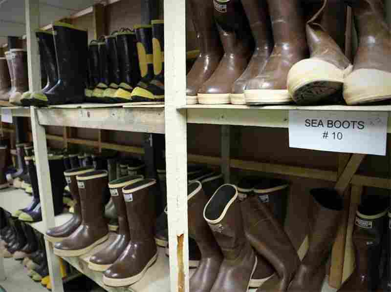 It's essential to keep your feet warm and dry in the Antarctic. NSF keeps a variety of boots in stock, from steel-toed sea boots to insulated Sorel snow clompers,  as well as a stockpile of thick, moisture-wicking socks.