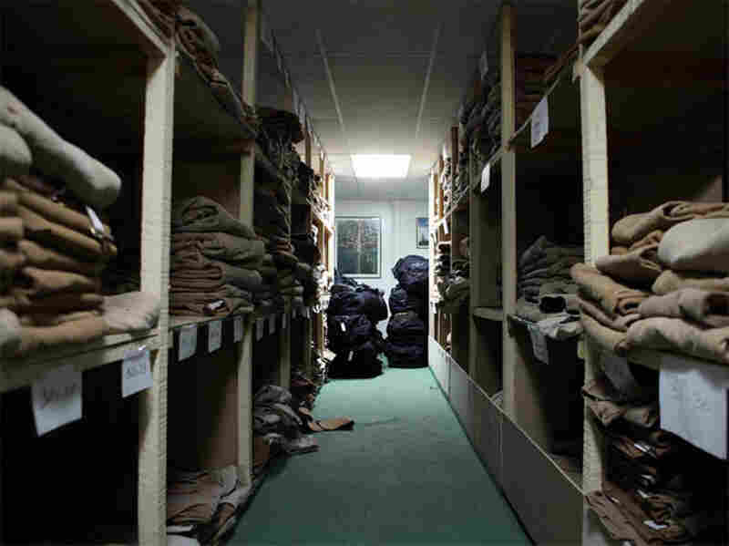 Shelves of Carhart pants and overalls fill two full rows in the warehouse. They can take a beating in the lab and in the field, and they get more comfortable the more you wear them.