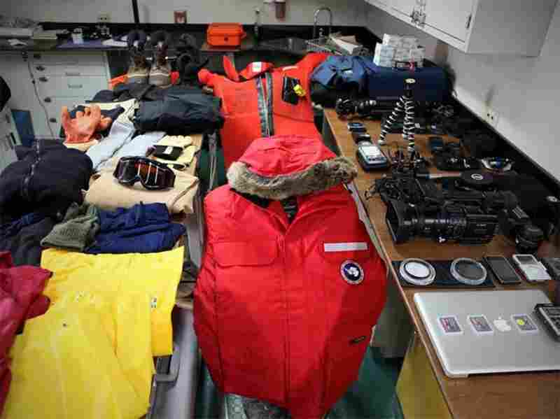 Spread out in our lab aboard the Laurence M. Gould, a month's worth of gear — 40 pieces in all — dominates the workspace. To the right is my audio and video equipment, minus the Canon 5D Mark II used to capture this image.