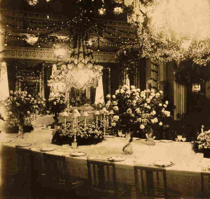 Extravagant floral arrangements and lights decorate the East Room of the White House for the state dinner given by President Theodore Roosevelt in honor of Prince Henry of Prussia in 1902.  In the early 19th century, state dinners were given to honor the Cabinet, Congress and other officials. The first state dinner to honor a foreign monarch was on Dec. 12, 1874, when King David Kalakaua of the...