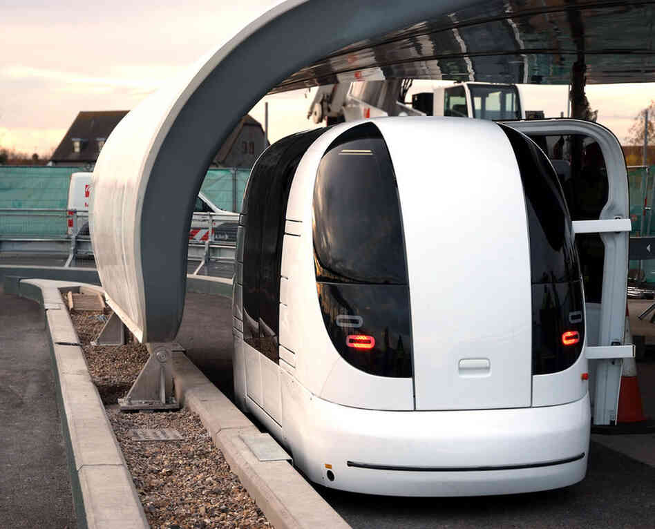 The ULTra car holds five passengers with luggage and runs on battery power.