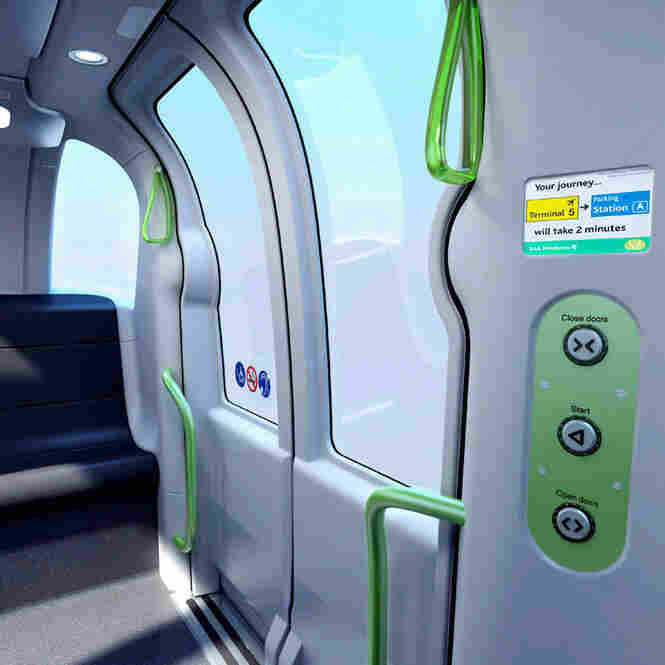 Riders can travel directly to a destination without extra stops by using the control panel, shown in this rendition of an ULTra pod car's interior.
