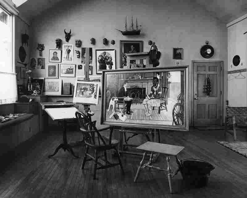 An unfinished painting sits in Rockwell's studio on the day of his death, in 1978. Kalischer says the painting was unfinished because Rockwell did not use photographs for it. Although Rockwell's use of photographs may discredit him in some eyes, it's hard to deny the breadth of Rockwell's aesthetic influence.