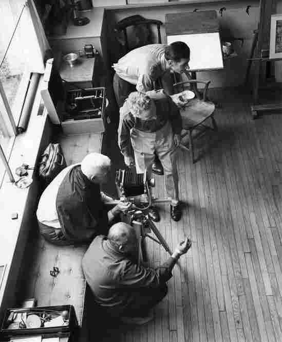 Rockwell works with two photographers, Bill Scoville and Louie Lamone, in his Stockbridge studio, while Kalischer documents the process.