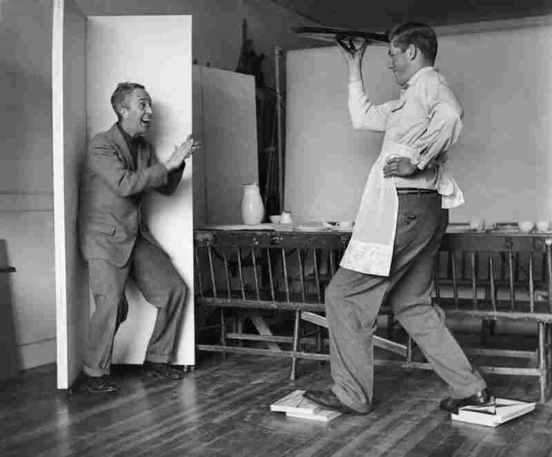 Rockwell, shown here in 1957, would often jump in front of the camera himself, directing models in their every gesture. The photographer here is Clemens Kalischer. A young artist and photojournalist, Kalischer moved to Rockwell's town of Stockbridge in the 1950s, and was asked to help with a few shoots.