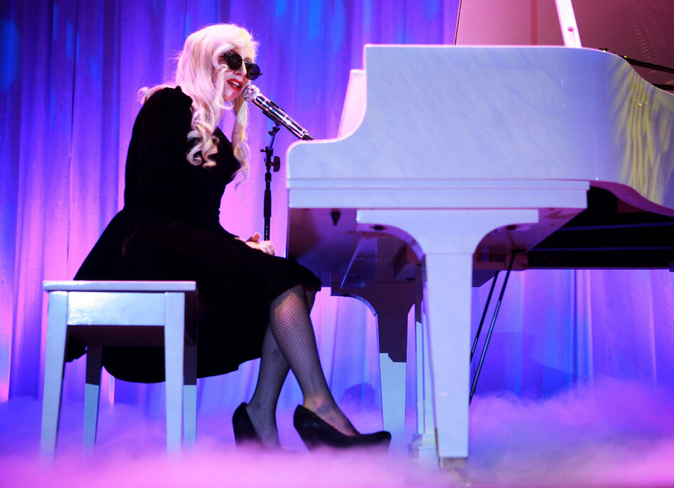 In a more conservative ensemble, Lady Gaga performs Oct. 10 during the 13th annual national dinner of the Human Rights Campaign in Washington, DC.