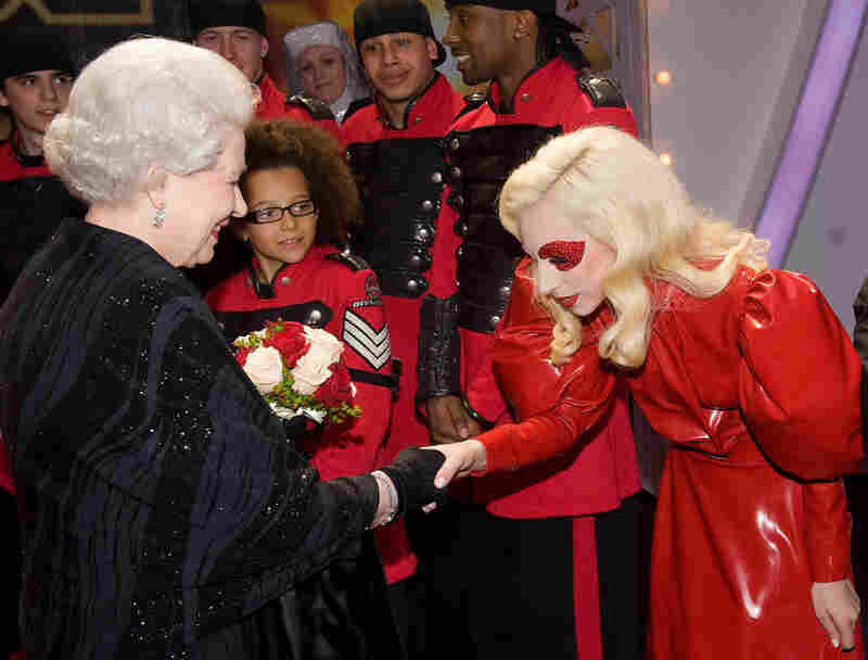 Lady Gaga covers up for a meeting with Queen Elizabeth II on Dec. 7 at the Royal Variety Performance in Blackpool, England.