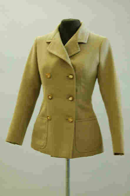 Brown cavalry twill jacket, double-breasted with faux horn buttons lined in crepe de chine, circa 1966. (Courtesy of Kerry Taylor Auctions) Estimate: $1640- $2460