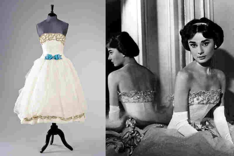 "Givenchy haute couture ball gown worn in the film  Love in the Afternoon. Tanja Star Busman said she received the dress from Hepburn after giving birth, ""to remind her what it's like to have a waistline again."" Estimate: $3,300 - $4,900"