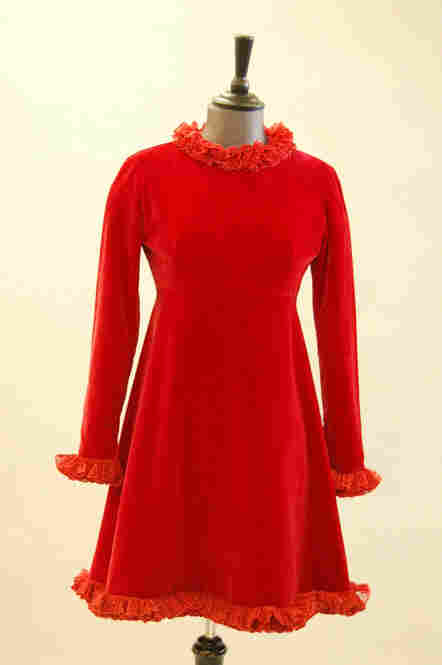 Rose Bertin velvet cocktail dress edged with lace ruffles, late 1960s. Estimate: $1,640 - $2,500