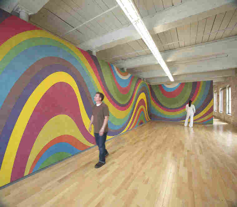 Wall Drawing #793B: Irregular wavy color bands, January 1996.
