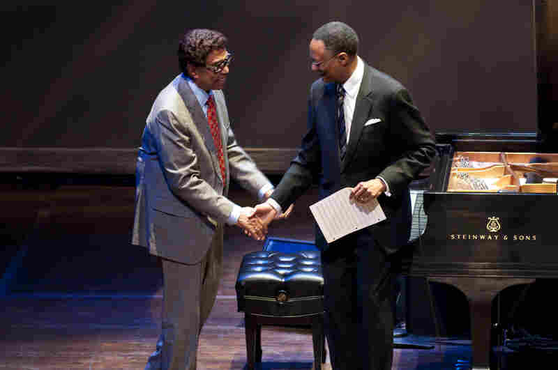Ramsey Lewis welcomes Dr. Billy Taylor to stage.