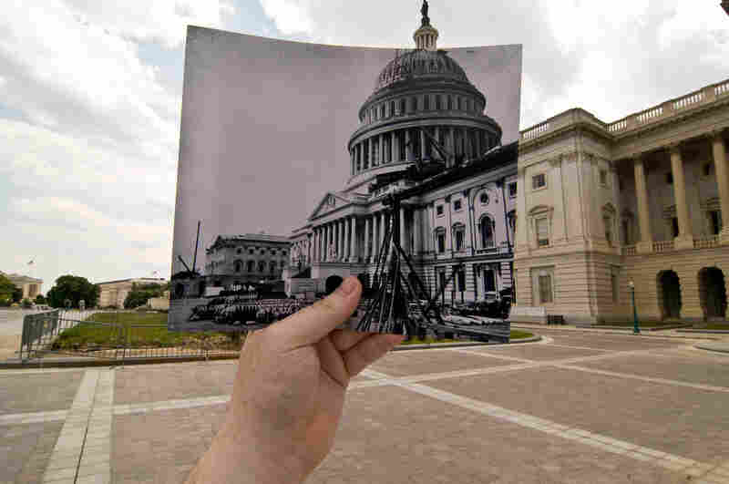 U.S. Capitol, Washington, D.C., July 2009. Original photo: Capitol, Washington, D.C., dome and front unfinished, June 28, 1863. Library of Congress
