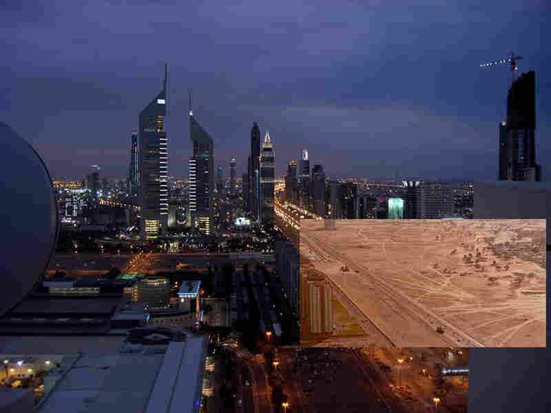 Dubai, Sheikh Zayed Road, circa 2006. Original photo: circa 1960s.