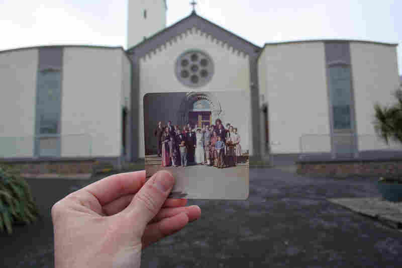 Church in Salthill, Galway, Ireland, May 2008. Original photo: Wedding in Galway, 1976.