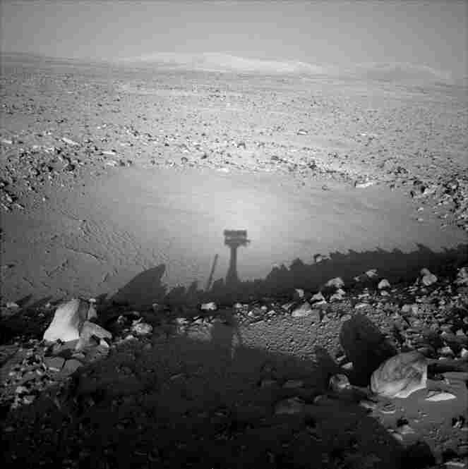 The shadow of the camera mast against a background of sand, rocks and a small dust-filled impact crater makes for a nice self-portrait of the Spirit rover.