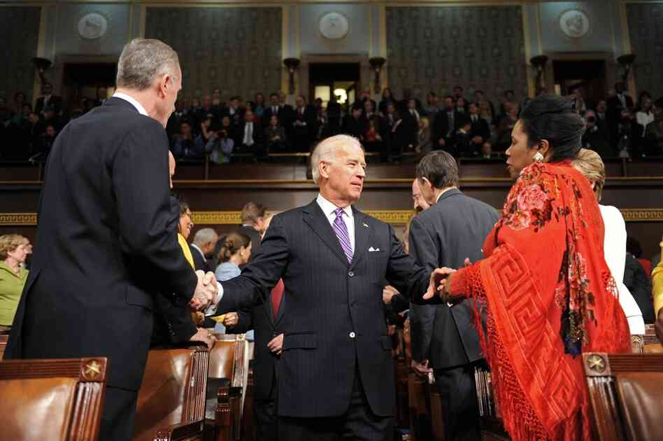 Vice President Biden greets Democratic Rep. Sheila Jackson Lee of Texas.