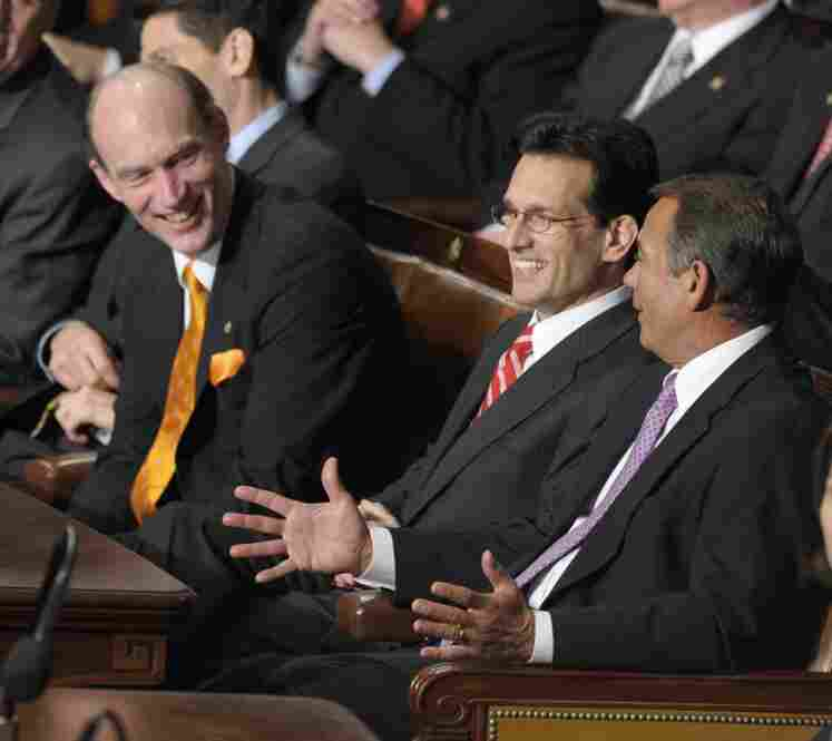 When the president said he would be open to suggestions on health reform, House Republican Leader John Boehner raised his hand. Here, Texas Republican Rep. Louie Gohmert (from left), House Minority Whip Eric Cantor of Virginia and Boehner share smiles.