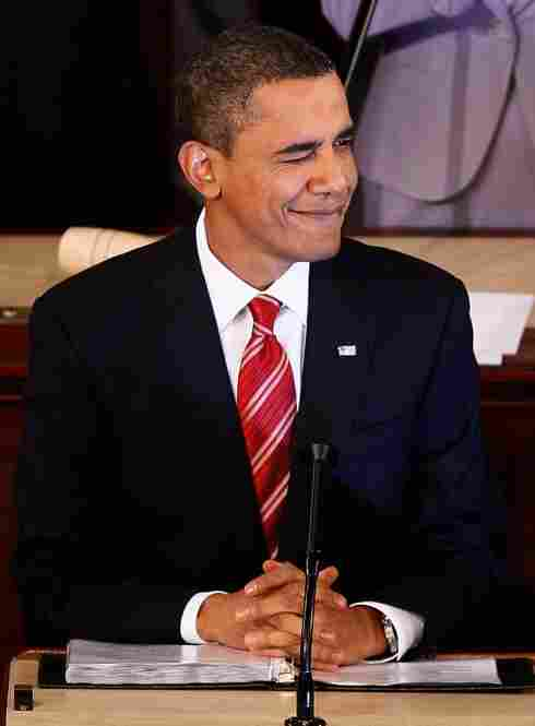 Obama winks while making a point.