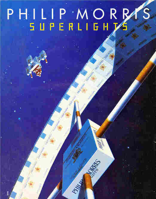 """This contemporary European ad features """"superlight"""" cigarettes. The terms """"light,"""" """"superlight"""" and """"ultralight"""" are meant to convey a healthier, low-tar and low-tobacco alternative to regular cigarettes, but the words have no legal meaning."""