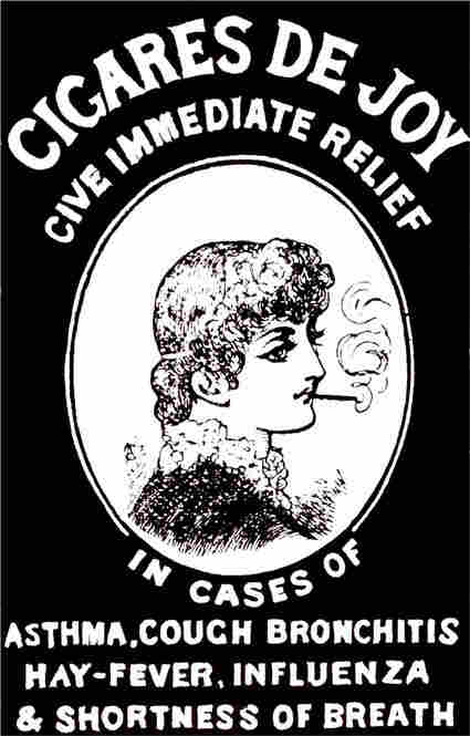 """This ad from a 19th century London newspaper advertised one brand of so-called medicinal cigarettes. """"Medicinal cigarettes"""" or """"asthma cigarettes"""" were billed as effective in treating asthma, hay fever, bad breath, head colds, canker sores and bronchial irritations, among other ailments."""