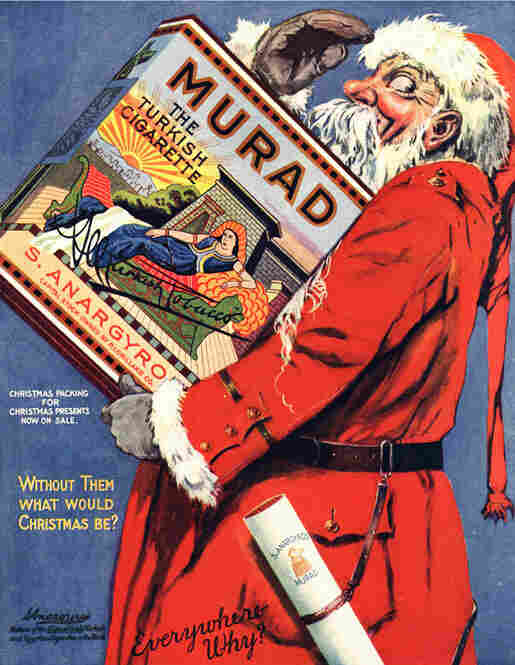 Christmas motifs were a common thread in tobacco advertising for decades. Circa World War I.