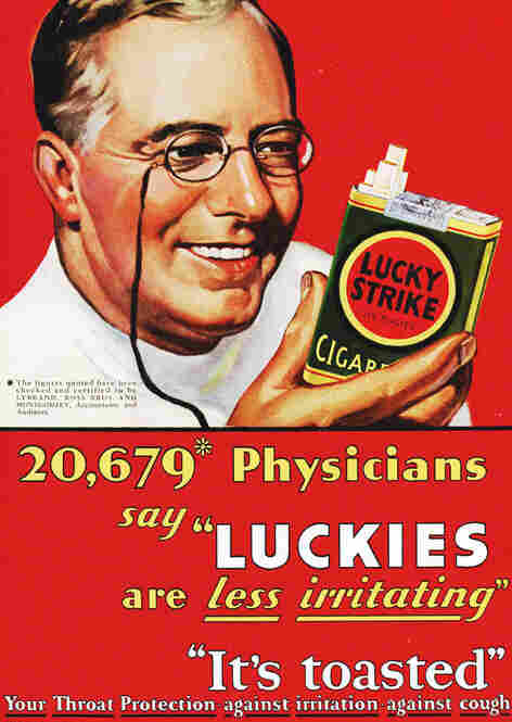 Images of doctors and nurses were commonly used in tobacco advertisements from the 1920s. The practice was outlawed in the 1950s. 1927.