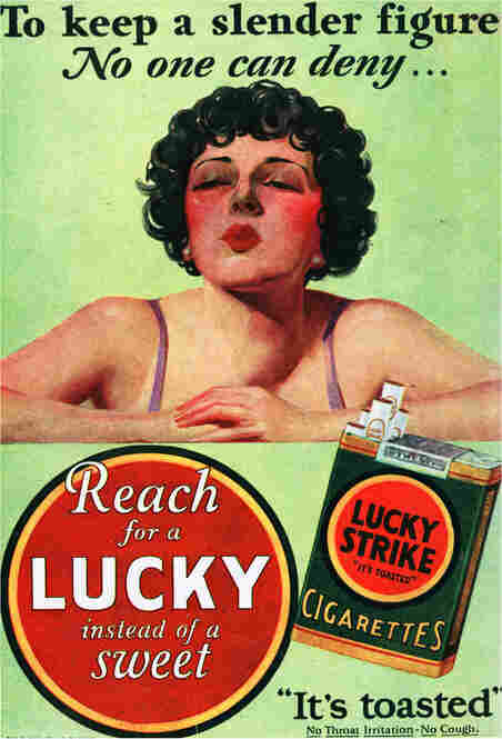 """For years, tobacco companies have advertised cigarettes as a way for women to stay thin.  Decades after the slogan """"Reach for a Lucky instead of a sweet"""" was developed, Virginia Slims advertisements still featured slim, fashionable women to convey the same idea. Late 1920s."""
