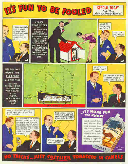 This 1933 ad touts the honesty of the featured cigarette company. Cigarette ads like this one often appeared in the Sunday comics.