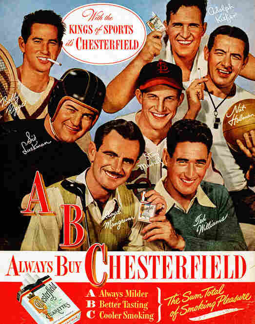Tobacco endorsements from athletes date back to the second half of the 19th century, when baseball cards began to be inserted into packages of cigarettes. Into the late 1940s, ads featured athletes claiming that a certain brand of cigarettes didn't hurt their athletic performance. 1947.
