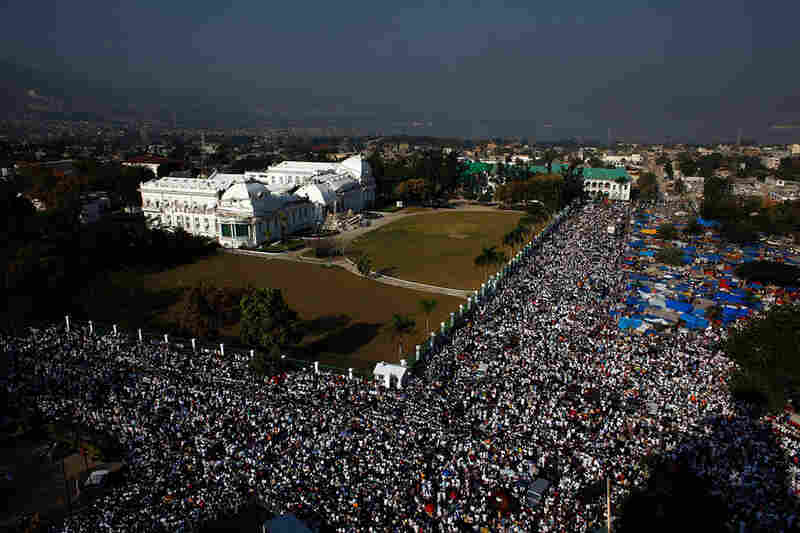 A wide view of the rally around the National Palace, home of Haiti's president, in Port-au-Prince.