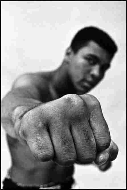 A Thomas Hoepker photograph shows Muhammad Ali, heavyweight boxing champion, showing off his right fist in Chicago in 1966.