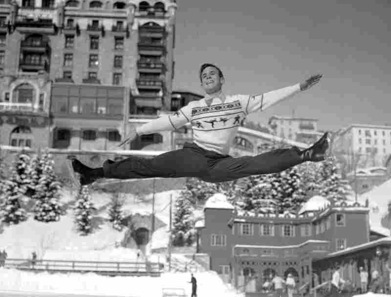 Dick Button won back-to-back gold medals for the United States in 1948 and 1952. This photo is from a practice at the 1948 Olympics in St. Moritz, Switzerland. Men at the time generally performed in tuxedo jackets and pants.