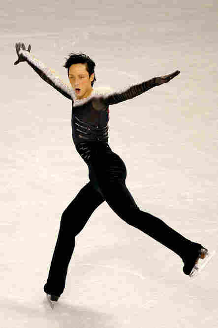 "Johnny Weir of the U.S. drew flak with this outfit at the U.S. National Championships in January because the fur on his shoulders was real fox. Weir removed the fur before the Olympics. But he did point out that every single skater competing ""is wearing skates made out of cow."""