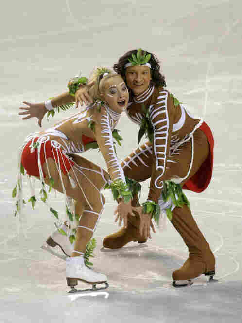 Ice dancers Oksana Domnina and Maxim Shabalin of Russia wore this allegedly Aboriginal garb for their original dance at the ISU European Figure Skating Championships in January. Critics charge it is not only culturally insensitive but inaccurate as well.