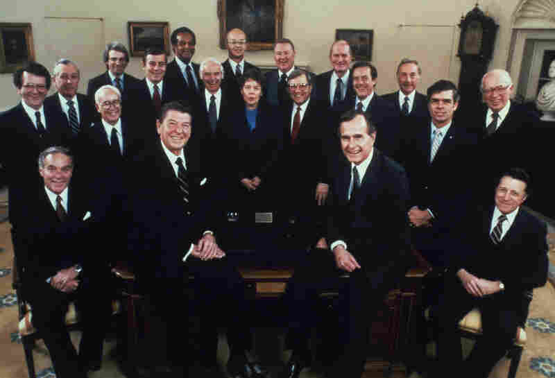 President Reagan, Vice President George H.W. Bush and the Reagan Cabinet in February 1981.  Haig (lower left) was Reagan's first secretary of state. He resigned his post in June 1982.