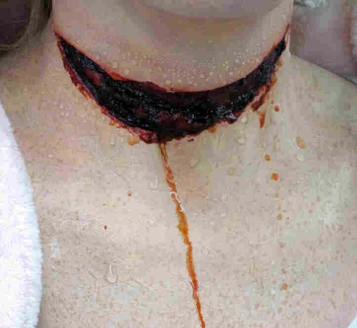 "Adding water makes the wound look drippy.  For the final effect (which, sorry, we can't show you) ""blood"" will be splattered all over the actress' neck."