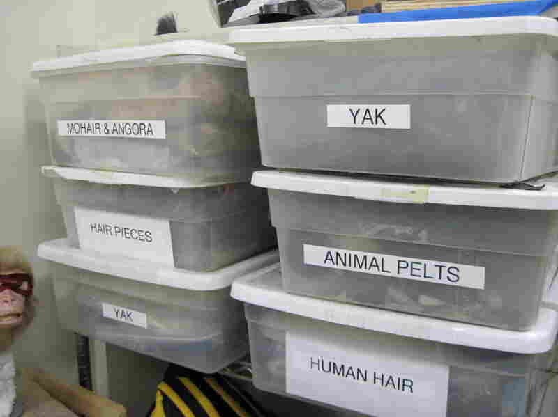 Boxes of hair for Legacy's stylists.  Yak hair is commonly used for gorillas and lions, because it is thick and spirally.