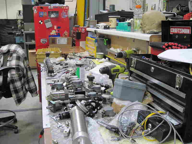A work space in the Legacy Effects warehouse, where animatronics (mechanized moving parts) are created.