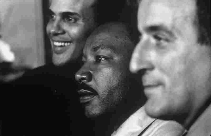 Martin Luther King Jr. with Harry Belafonte and Tony Bennett in the Selma to Montgomery March of 1965.