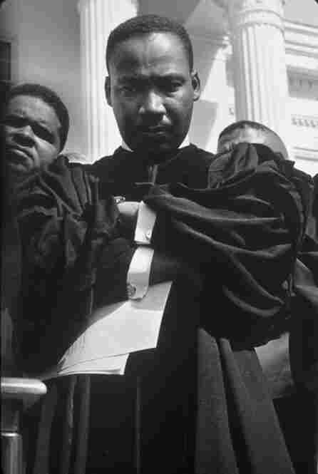 Martin Luther King Jr. at a rally on the steps of the Alabama state capitol, in Montgomery.